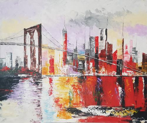 New York Gemälde, Brooklyn Bridge, Acryl, 120x100cm