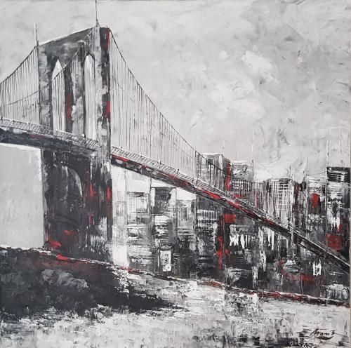 New York Gemälde grau, Brooklyn Bridge, Acryl, 100x100cm