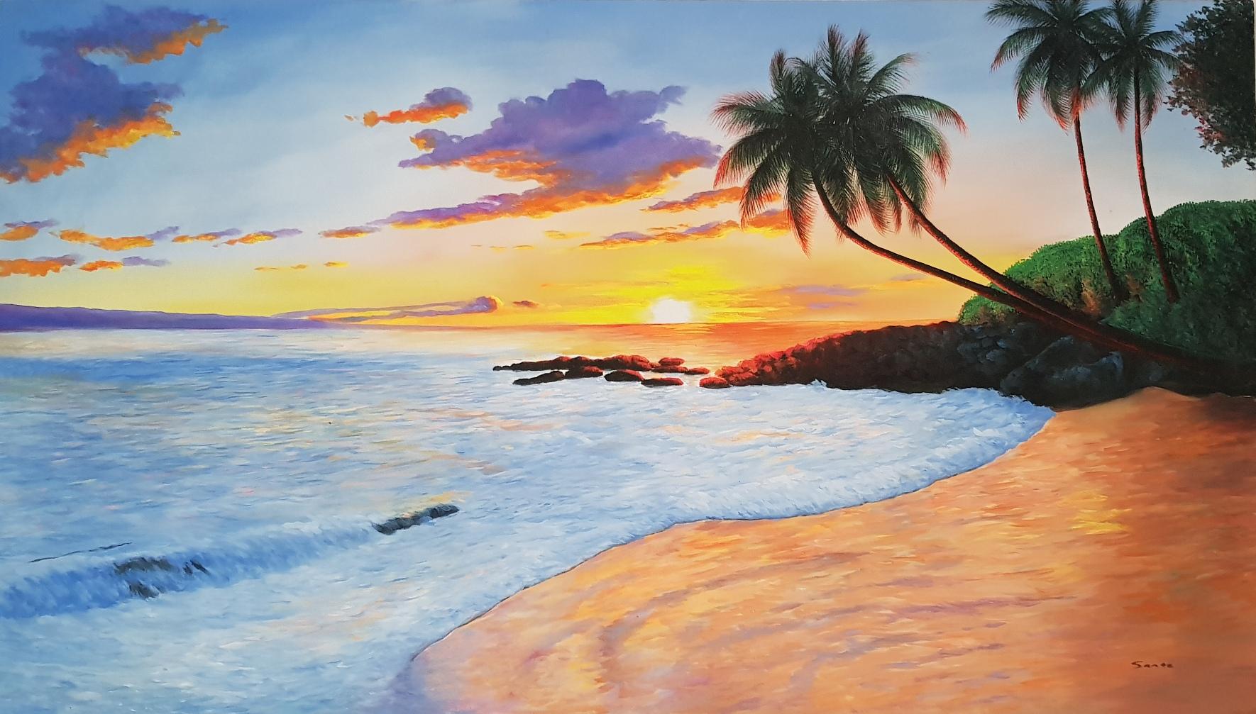 gemälde strand palmen meer  moderne gemälde kaufen